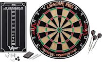 <p>He can hang this <span>Viper League Pro Regulation Bristle Dartboard Set</span> ($43) in the garage.</p>