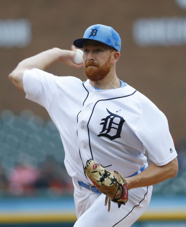 Detroit Tigers pitcher Spencer Turnbull throws against Cleveland Indians in the first inning of a baseball game in Detroit, Sunday, June 16, 2019. (AP Photo/Paul Sancya)
