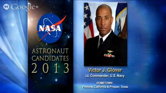 NASA's astronaut candidates for 2013, including Victor J. Glover, were announced on June 17, 2013.