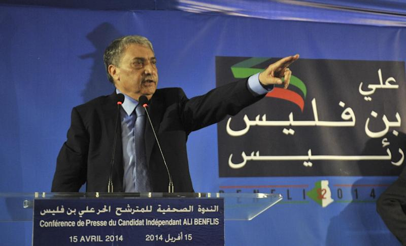 Algerian presidential candidate Ali Benflis gestures during a press conference in Algiers, Tuesday, April 15, 2014. Benflis is seen as the only real rival to incumbent President Abdelaziz Bouteflika for the upcoming presidential election. Six candidates are running for the powerful presidency in the April 17 elections. (AP Photo/Anis Belghoul)