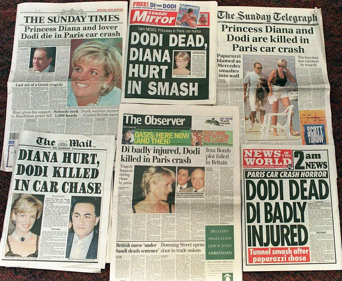 <p>The UK Sunday papers had scrambled to get the tragic news on their front pages just hours after the car crash which killed Diana. (Rex) </p>
