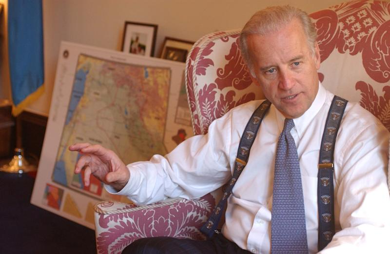 Biden, ranking Democrat on the Senate Foreign Relations Committee, during an interview in his office about the possibility of war with Iraq and Secretary of State Colin Powell's intelligence briefing of the United Nations Security Council on Feb. 5, 2003.