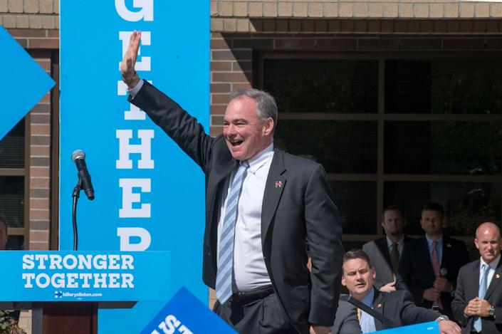 <p>Democratic vice presidential nominee and U.S. Sen. Tim Kaine arrives to a rally on Thur., Sept. 22, 2016, at the University of Nevada, Reno. (Renée C. Byer for Yahoo News) </p>