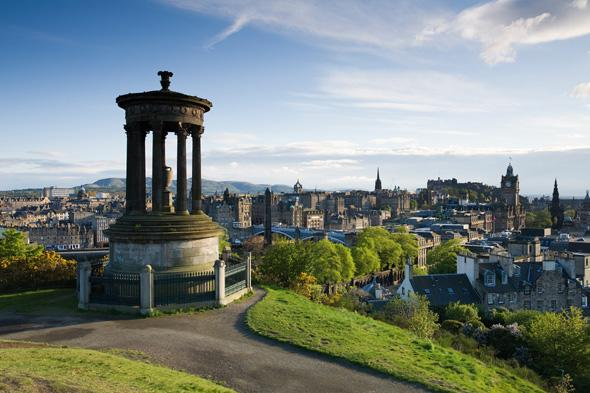 View over Edinburgh from the Dugald Stewart Monument on top of Calton Hill, taken on January 20, 2010. (Photo by PhotoPlus Magazine via Getty Images)