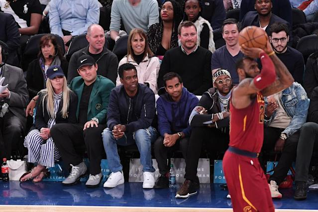 "Patrick and Justine Reed with Chris Rock, Aziz Ansari, 2 Chainz, <a class=""link rapid-noclick-resp"" href=""/nba/players/3704/"" data-ylk=""slk:LeBron James"">LeBron James</a>."