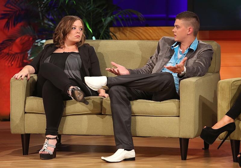 Catelynn Lowell and Tyler Baltierra on the 'Teen Mom' couch