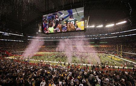 Green Bay Packers celebrate their win over the Pittsburgh Steelers during the NFL's Super Bowl XLV football game in Arlington