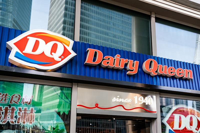 SHANGHAI, CHINA - 2019/07/22: American chain of ice cream and fast-food restaurants Dairy Queen, or DQ, store and logo seen in Shanghai. (Photo by Alex Tai/SOPA Images/LightRocket via Getty Images)