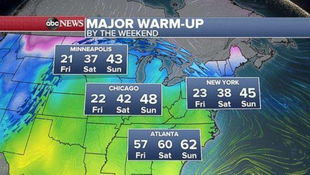 PHOTO: The weekend weather. (ABC News)