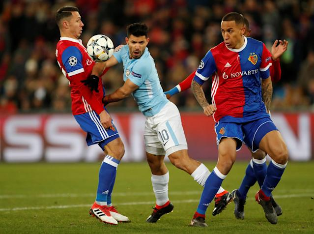 Soccer Football - Champions League - Basel vs Manchester City - St. Jakob-Park, Basel, Switzerland - February 13, 2018 Manchester City's Sergio Aguero in action with Basel's Leo Lacroix and Marek Suchy Action Images via Reuters/Andrew Boyers