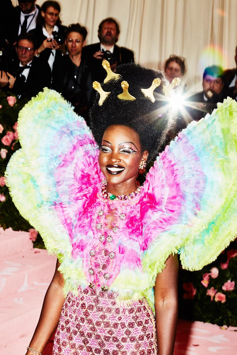Lupita Nyong'o on the red carpet at the Met Gala in New York City on Monday, May 6th, 2019. Photograph by Amy Lombard for W Magazine.