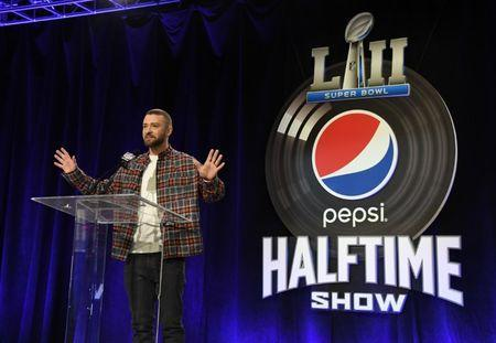 Feb 1, 2018; Minneapolis, MN, USA; Recording artist Justin Timberlake answers questions during a press conference for the Super Bowl LII halftime show at Hilton Minneapolis. Mandatory Credit: Kirby Lee-USA TODAY Sports