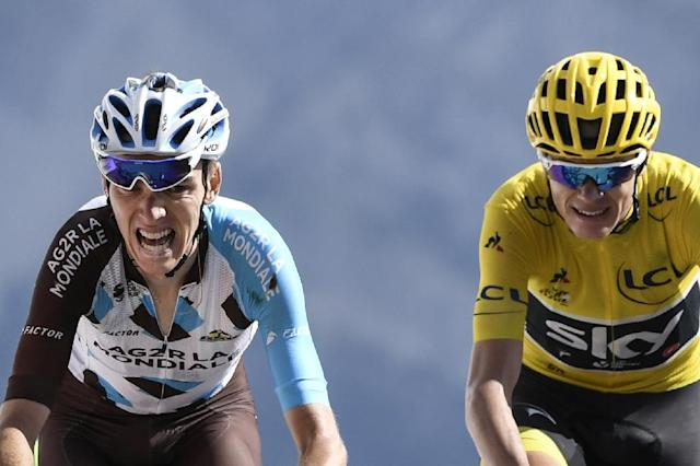 Romain Bardet (left) and Chris Froome in action during the Tour de France in July 2017 (AFP Photo/PHILIPPE LOPEZ)