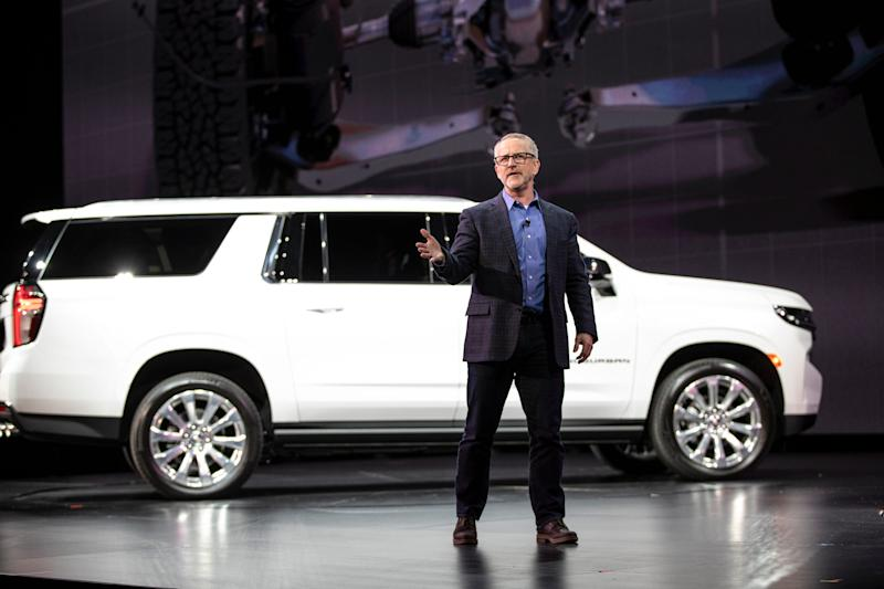 Tim Herrick, GM vice president for Global Product Programs speaks in front of the new 2021 Chevrolet Suburban at the Little Caesars Arena in downtown Detroit, Tuesday, Dec. 10, 2019.