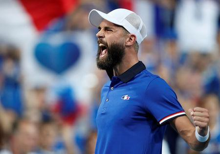 Tennis - Davis Cup - World Group Semi-Final - France v Spain - Stade Pierre Mauroy, Lille, France - September 14, 2018 France's Benoit Paire celebrates after winning his match against Spain's Pablo Carreno Busta REUTERS/Benoit Tessier