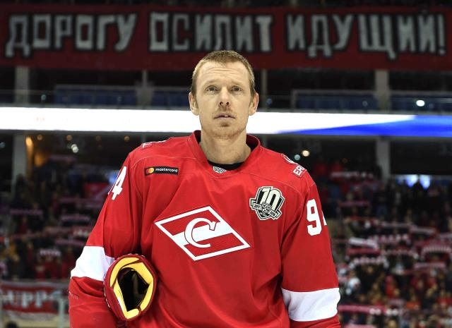 In this photo taken on Monday, Jan. 8, 2018 , American forward Ryan Stoa, who is in his fourth KHL season after stints with the Colorado Avalanche and Washington Capitals, is seen after the Continental Hockey League, or KHL, ice hockey match between Spartak Moscow and Neftekhimik Nizhnevartovsk, in Moscow, Russia. For North American players in the Continental Hockey League, almost every day brings unusual surprises. From Russian customs to just plain abnormal behavior, Americans and Canadians in the KHL figure out quickly it's much different than the NHL on and off the ice. (Yury Kuzmin/KHL Photo Angency via AP)