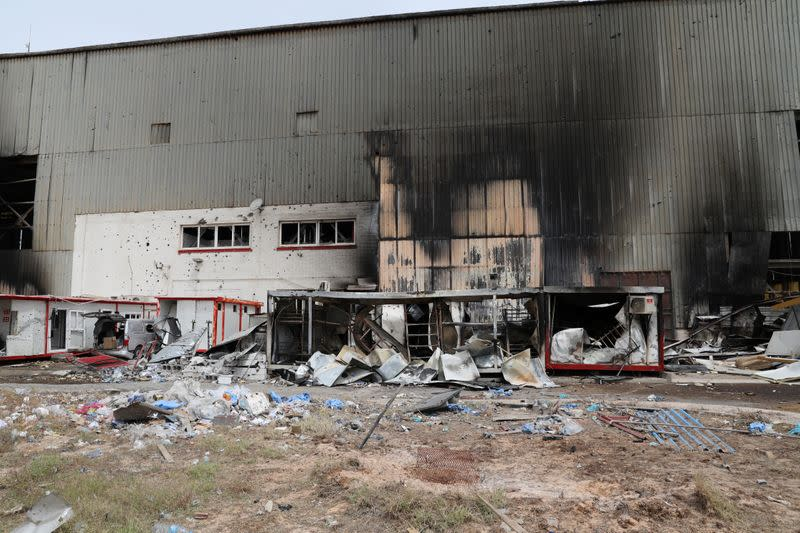 Damages is seen following shelling at Tripoli's Mitiga airport in Tripoli