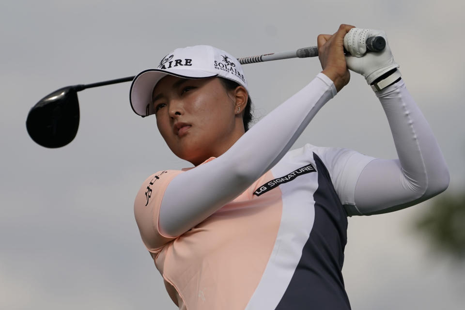 Jin Young Ko, of South Korea, hits off the 11th tee in the second round of the Cognizant Founders Cup LPGA golf tournament, Friday, Oct. 8, 2021, in West Caldwell, N.J. (AP Photo/John Minchillo)
