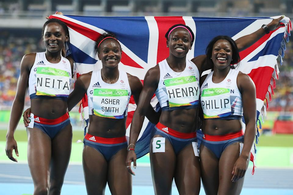 Daryll Neita, Dina Asher-Smith, Desiree Henry and Philip set a national record en route to winning 4x100m bronze in Rio (Picture: Reuters)