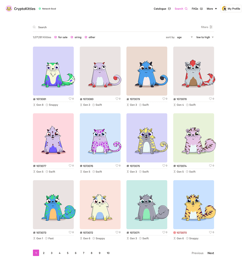 'CryptoKitties' is an online game that lets players buy, collect, sell and breed digital cats, all of them supported by the Ethereum blockchain.