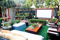 """<p>Those who want a serious backyard upgrade can spring for a permanent DIY fixture like this one from The Horticult. It's built with several <a href=""""https://thehorticult.com/show-thyme-how-to-build-an-outdoor-theater-in-your-garden/"""" rel=""""nofollow noopener"""" target=""""_blank"""" data-ylk=""""slk:wooden posts that will hold your screen in place"""" class=""""link rapid-noclick-resp"""">wooden posts that will hold your screen in place</a>, while adding a polished aesthetic to any garden. </p><p><strong>See more at <a href=""""https://thehorticult.com/show-thyme-how-to-build-an-outdoor-theater-in-your-garden/"""" rel=""""nofollow noopener"""" target=""""_blank"""" data-ylk=""""slk:The Horticult"""" class=""""link rapid-noclick-resp"""">The Horticult</a>.</strong></p>"""
