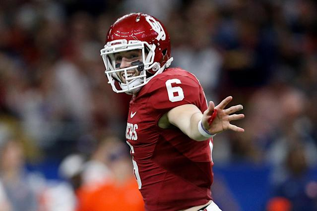 """<a class=""""link rapid-noclick-resp"""" href=""""/ncaaf/players/229650/"""" data-ylk=""""slk:Baker Mayfield"""">Baker Mayfield</a> is back for OU, along with eight other offensive starters. (Getty)"""