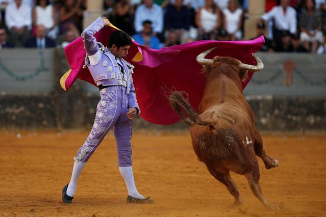 "Spanish bullfighter Cayetano Rivera performs a pass to a bull during a ""Corrida Goyesca"" bullfight in Ronda, southern Spain, September 2, 2017. REUTERS/Jon Nazca"