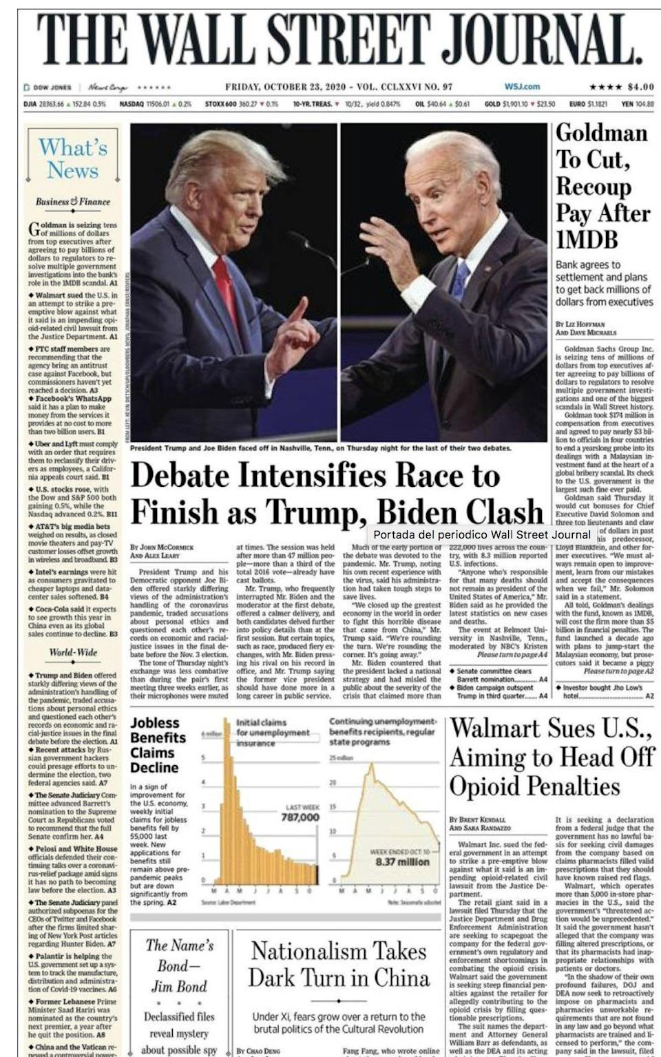 The front page of the Wall Street Journal on Friday
