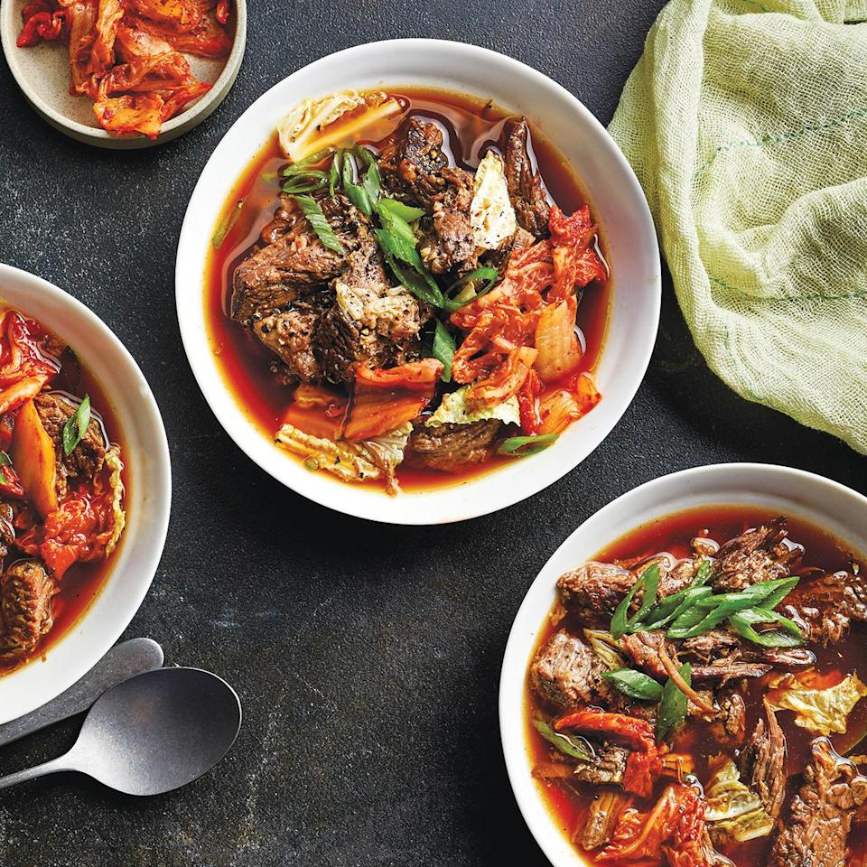 <p>Brown sugar makes this slow-cooker beef stew a tad sweet, which beautifully complements the spicy kimchi. You can make this soup ahead and refrigerate it until ready to eat. If you opt to make it ahead, wait until you reheat the soup to add the cabbage.</p>