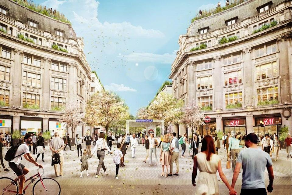 Artist's impression of the Oxford Circus piazza   (PA)