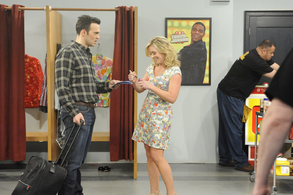 """Cheyenne Jackson as Danny and Jane Krakowski as Jenna Maroney in the """"Live from Studio 6H"""" episode of """"<a href=""""http://tv.yahoo.com/30-rock/show/37064"""">30 Rock</a>."""""""