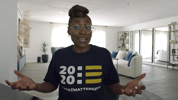 """<div class=""""caption""""> After seeing Issa Rae's elegant Barbie Palomino–designed living room on AD.com, director Jay Roach thought the audience would buy it as the dwelling of a wealthy, well-connected philanthropist being courted by her former prep-schoolmate Ivanka Trump. </div> <cite class=""""credit"""">Courtesy of HBO</cite>"""