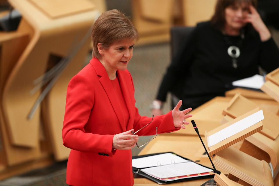 Scottish First Minister Nicola Sturgeon during a meeting at the Scottish Parliament in Edinburgh, where she announced that lockdown restrictions are to be extended until at least the middle of February in Scotland, with schools remaining closed to the majority of pupils. Picture date: Tuesday January 19, 2021.