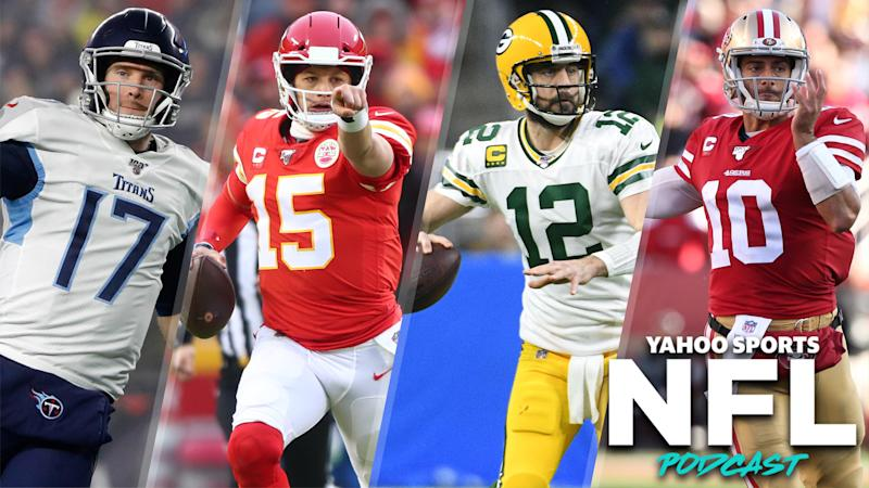 Ryan Tannehill and Patrick Mahomes will face off in the AFC Championship while Aaron Rodgers and Jimmy Garoppolo will duel in the NFC Championship this Sunday. (Photo Credits L to R: Winslow Townson, Mark J. Rebilas, Tim Fuller, Cary Edmondson-USA TODAY Sports)