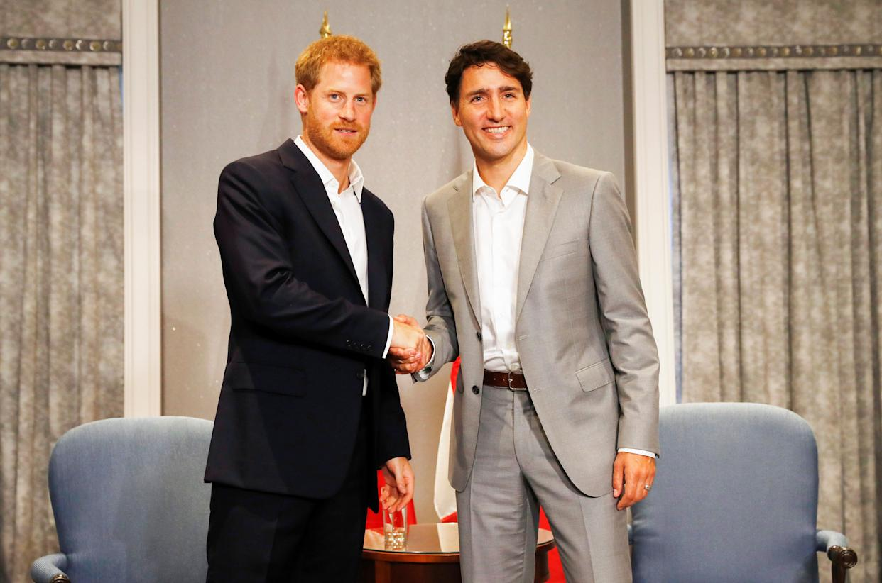 Prince Harry meets with Canada's Prime Minister Justin Trudeau ahead of the Invictus Games in Toronto on Sept. 23, 2017.