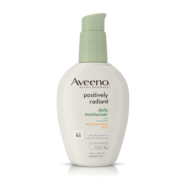<strong><span>Aveeno Positively Radiant moisturizer with SPF 15</span>, $12.80</strong>