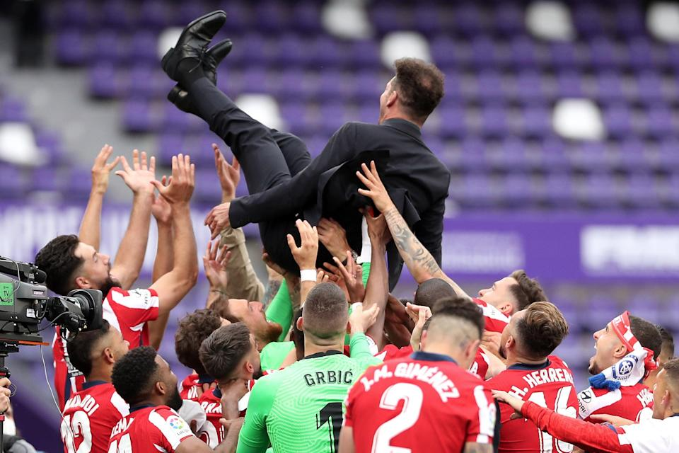 <p>Diego Simeone and Atletico Madrid celebrate their first LaLiga title since 2014</p> (Getty Images)