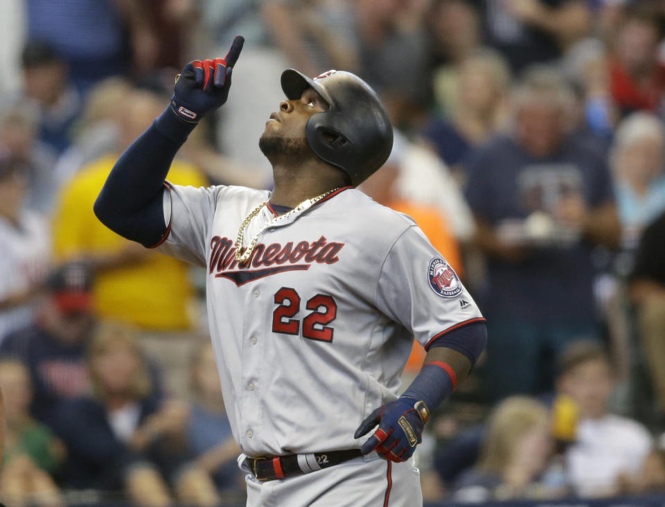 Minnesota Twins' Miguel Sano reacts after his home run against the Milwaukee Brewers during the third inning of a baseball game Wednesday, Aug. 14, 2019, in Milwaukee. (AP Photo/Jeffrey Phelps)