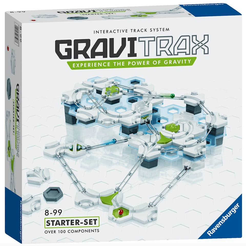 """Think modern day marble run. It's aimed to be educational as it focuses on STEM subjects, playing with gravity and kinetic energy. Kids build their own run and see if their marble can make it to the finish line.<br />Price: £50<br />Ages: 8+<br /><a href=""""http://www.hamleys.com/ProductListings.irs?tag=GraviTrax"""" target=""""_blank"""" rel=""""noopener noreferrer"""">Click here to buy</a>."""