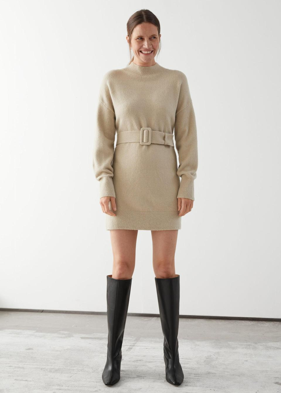 <p>This <span>Relaxed Belted Mini Dress</span> ($69) is a fun twist on traditional business clothes.</p>