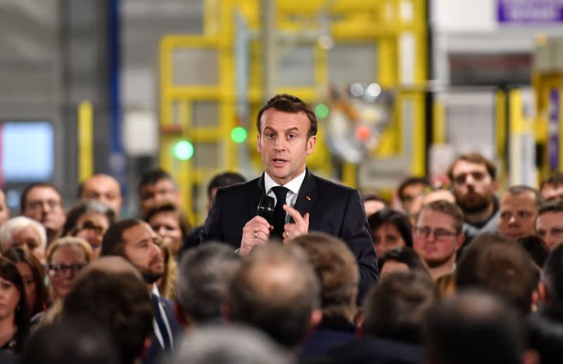 French President Emmanuel Macron visits AstraZeneca factory in Dunkirk