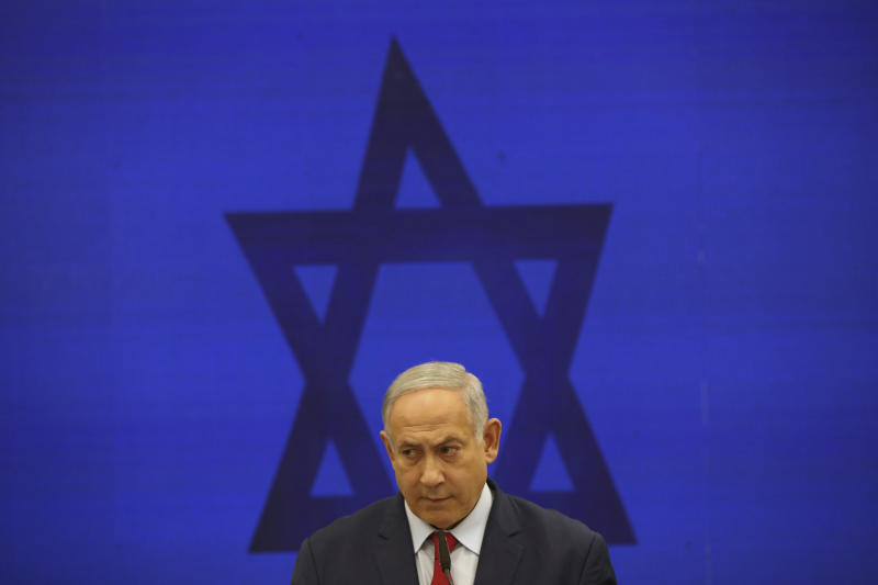 FILE - In this Sept. 10, 2019 file photo, Israeli Prime Minister Benjamin Netanyahu, speaks during a press conference in Tel Aviv, Israel.  Netanyahu, locked in a razor tight race and facing the likelihood of criminal corruption charges, a decisive victory in Tuesday, Sept. 17, vote may be the only thing to keep him out of the courtroom. (AP Photo/Oded Balilty, File)