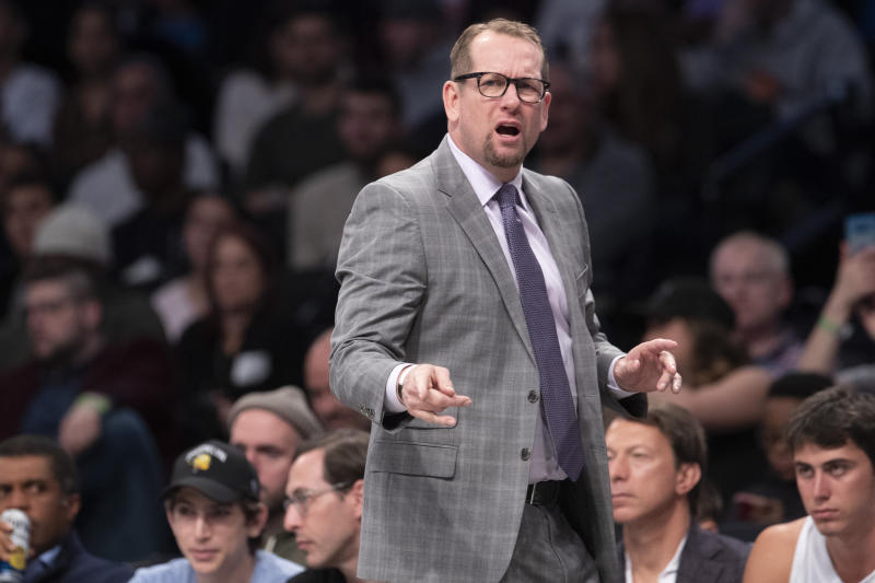 Coach Nick Nurse is pushing all the right buttons for the Raptors. (AP Photo/Mary Altaffer)