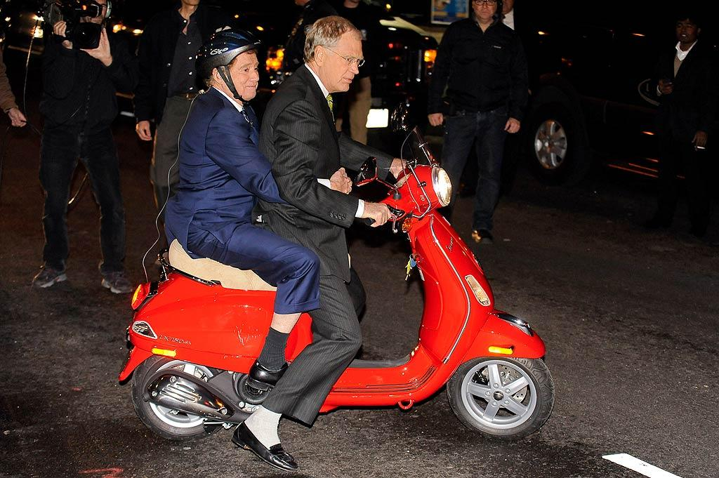 "Less than 24 hours before his last-ever episode of ""Live With Regis and Kelly,"" TV morning host Regis Philbin took off on a Vespa with David Letterman during his appearance on the ""Late Show"" on Thursday. Regis officially retired on Friday. (11/17/2011)"