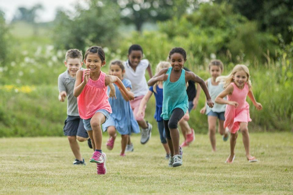"""<p>It may seem the simple, but chasing each other around is one of the best exercises kids can do. """"Running is particularly healthy for kids, since it <strong>helps them build strong bones while strengthening their muscles</strong>,"""" Oldham says. """"Not to mention, it's <em>fun</em> to run. Coupled with a healthy diet, it helps children maintain a healthy weight. Developing a love of running and seeing it as <em>fun</em> is something children can carry into adulthood, setting them up for a lifetime of healthy habits."""" Playing tag, organizing timed relays, or games like <a href=""""https://www.ultimatecampresource.com/camp-games/cooperative-games/mother-may-i/"""" rel=""""nofollow noopener"""" target=""""_blank"""" data-ylk=""""slk:Mother May I?"""" class=""""link rapid-noclick-resp"""">Mother May I?</a> or <a href=""""https://www.ultimatecampresource.com/camp-games/high-activity-games/what-time-is-it-mr-fox/"""" rel=""""nofollow noopener"""" target=""""_blank"""" data-ylk=""""slk:What Time Is It, Mr. Fox?"""" class=""""link rapid-noclick-resp"""">What Time Is It, Mr. Fox?</a> will get your kids up and racing. </p><p><strong>RELATED:</strong> <a href=""""https://www.goodhousekeeping.com/life/parenting/g32140814/fun-toddler-activities/"""" rel=""""nofollow noopener"""" target=""""_blank"""" data-ylk=""""slk:Fun Toddler Activities That Give Their Bodies and Brains a Boost"""" class=""""link rapid-noclick-resp"""">Fun Toddler Activities That Give Their Bodies and Brains a Boost</a></p>"""