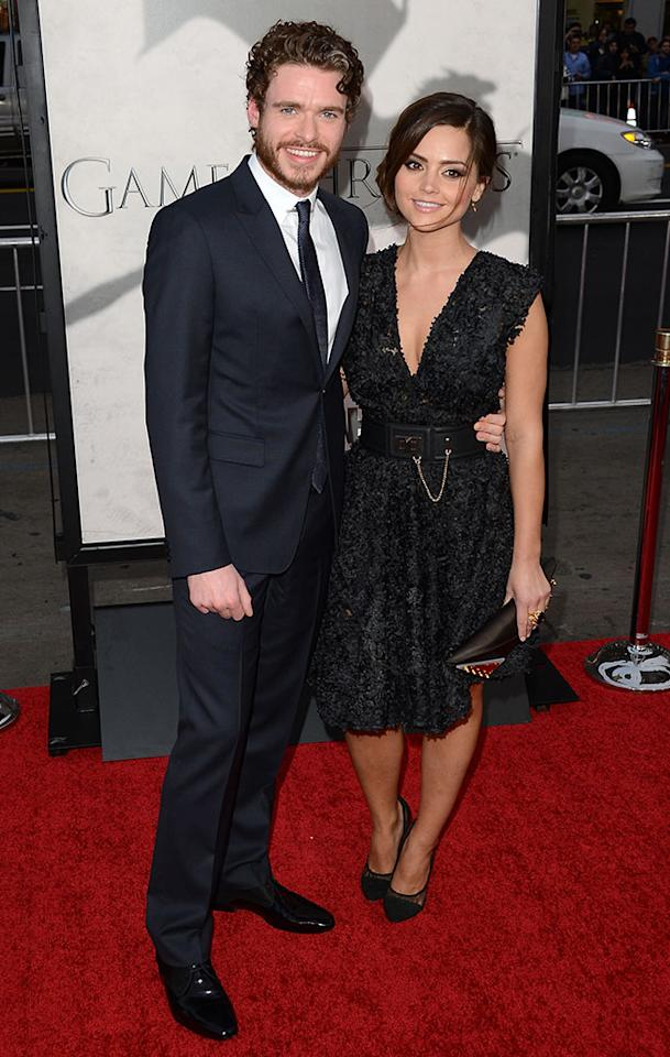 """Richard Madden and Jenna-Louise Coleman arrive at the premiere of HBO's """"Game of Thrones"""" Season 3 at TCL Chinese Theatre on March 18, 2013 in Hollywood, California."""