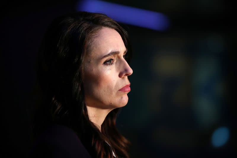New Zealand Prime Minister Ardern addresses the media after a debate in Auckland