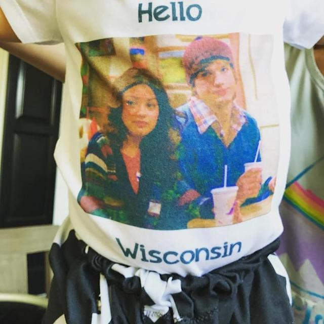 """<p>Little Dimitri Kutcher had one awesome shirt, endorsing the sitcom that brought his mom, Mila Kunis, and dad together. """"Yes, this Is my son's outfit today #that70sshow #kelsoandjackieforever,"""" he captioned it. (Photo: <a href=""""https://www.instagram.com/p/BY579kfnjTN/?taken-by=aplusk"""" rel=""""nofollow noopener"""" target=""""_blank"""" data-ylk=""""slk:Ashton Kutcher via Instagram"""" class=""""link rapid-noclick-resp"""">Ashton Kutcher via Instagram</a>) </p>"""