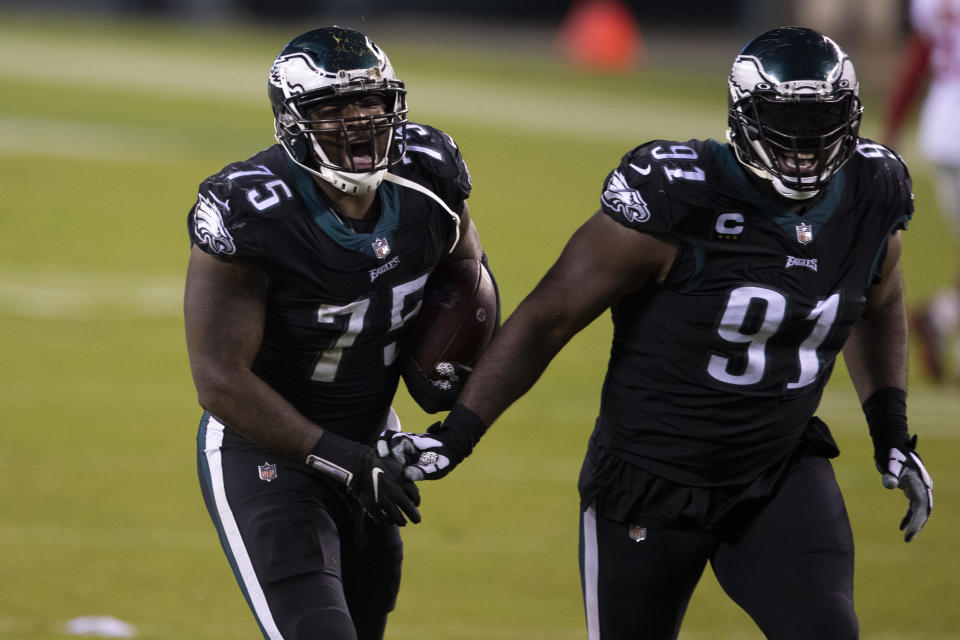 Vinny Curry #75 and Fletcher Cox #91 of the Philadelphia Eagles