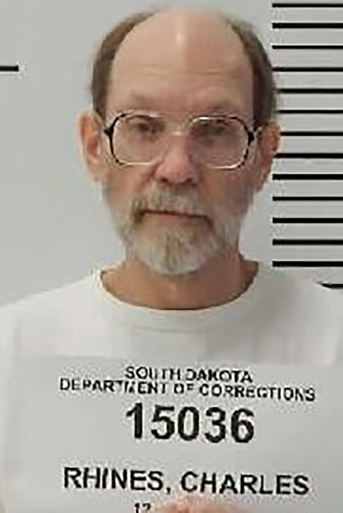 In this Dec. 31, 2017 photo provided by the South Dakota Department of Corrections is Charles Rhines at the South Dakota State Penitentiary in Sioux Falls. South Dakota Circuit Judge Jon Sogn has denied Rhines' request to delay his execution next week over the drug to be used. Rhines had argued that pentobarbital does not act quickly enough to comply with state law. Rhines, is scheduled to be executed in November 2019 in South Dakota for a 1992 fatal stabbing of 22-year-old Donnivan Schaeffer while burglarizing a doughnut shop. (South Dakota Department of Corrections via AP)